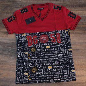Dolce & Gabbana Red and Black V-Neck T-Shirt